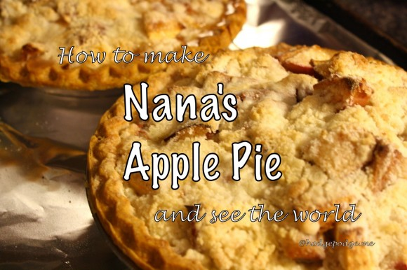 There are plenty of different apple pie versions out there but this is my mama's – Nana's Apple Pie Recipe. The one that she wrote in the red and white checked I'm Writing My Own Cookbook and perfect to complement How to Make an Apple Pie and See the World!